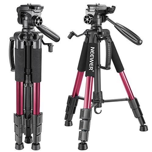 Neewer Portable 56 inches/142 centimeters Aluminum Camera Tripod with 3-Way Swivel Pan Head,Bag for DSLR Camera,DV Video Camcorder Load up to 8.8 pounds/4 kilograms Red(SAB234) (56 Inch Video)
