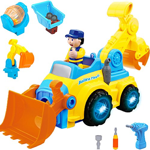 Tractor Trailer - iPlay, iLearn Farm Vehicle Front Loader Tractor Cement Mixer Tractor Backhoe Toy Excavator Toy Dump Truck Digger Toy Crane Boys toys, Construction Vehicles 5 in
