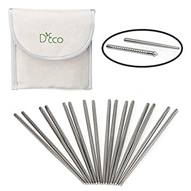 Stainless Steel Chopsticks- Twist Apart Reusable Travel Chopsticks with Pouch by D'Eco (8 Sets)