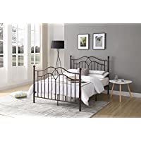 Hodedah Complete Metal Queen-Size Bed with Headboard, Footboard, Slats and Rails in Bronze