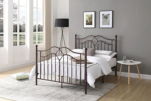 Hodedah Complete Metal Queen-Size Bed with Headboard, Footboard, Slats and Rails in Bronze