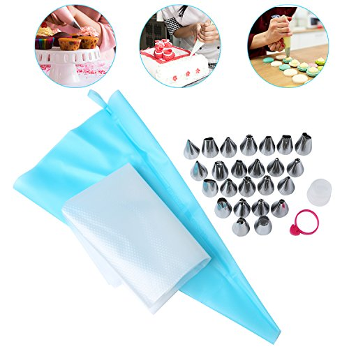 - CMaster 28 Pieces Cake Decoration Supplies Kits with Plastic Storage Box, 24 Stainless Icing Tips, 1 TPU Reusable Silicone Cake Piping Pastry Bag, 2 Disposable Icing Decorating Bags and 1 Bag Tie