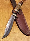 Handmade Deer Antler Handle Hunting Knife Damascus Blade Stag Collection With Leather Sheath Premium (A219)