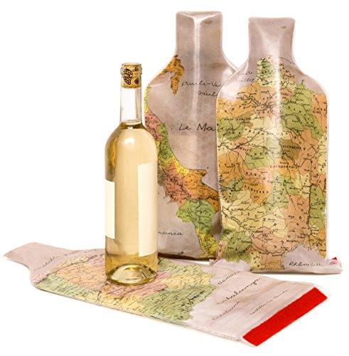Kenley - Bolsa de viaje para proteger botellas de vino, juego de 3 unidades reutilizables, antigoteo, con forro de burbujas y acolchado para triple ...