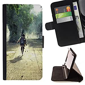 DEVIL CASE - FOR Samsung Galaxy Note 3 III - Nature Beautiful Forrest Green 1 - Style PU Leather Case Wallet Flip Stand Flap Closure Cover