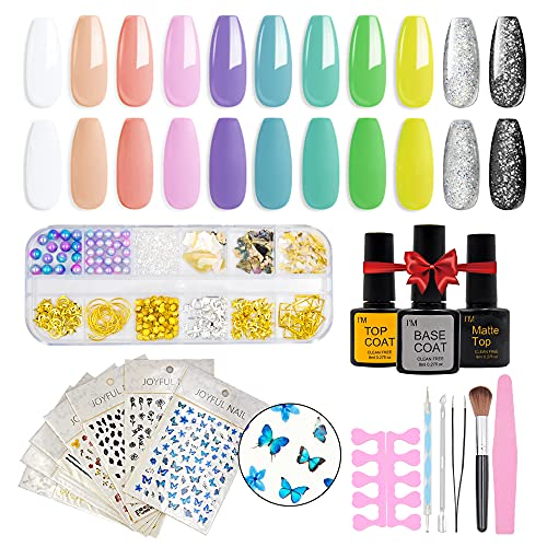 Gel Nail Polish Kit with Nail Art Decorations, Nail Polish Set include 11 Colors with Glossy & Matte Top Coat, Base Coat, Nail Stickers, Rhinestones decorations and Manicure Tools for Women