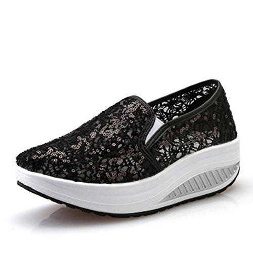 Scarpe Mesh Basculanti Scarpe Sneaker da Fitness Platform Sportive Donna Summer Zeppa Ginnastica Dimagranti Schwarz02 5pTwqpd