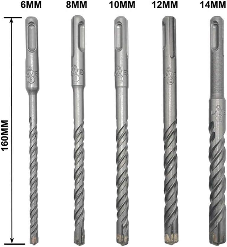 Juego de brocas para hormig/ón y mamposter/ía 5 unidades, 6 mm, 8 mm, 10 mm, 12 mm, 14 mm SDS Plus