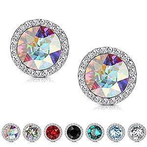 KesaPlan Crystals Stud Earrings for Women, Made of Swarovski Crystals, Round-Cut Halo Swarovski Crystals Earrings Set…