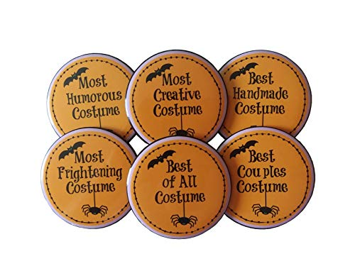 Halloween Party Costume Contest Prize- Set of 6 Buttons Pins 2 1/4 inch Unique Prizes -