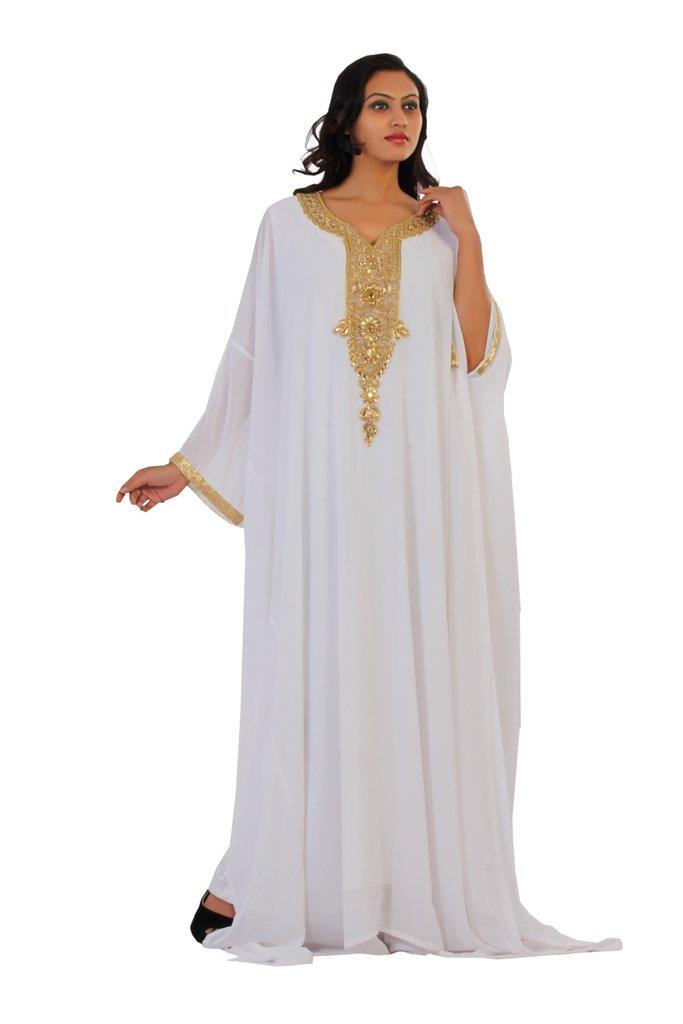 Dubai Very Fancy Kaftan Luxury Crystal Beaded Caftan Abaya Wedding Dress (XXXXL White)