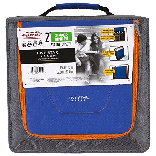 Five Star 2 Inch Zipper Binder, Tech Pocket, Durable, Gray / Blue (73246) ()