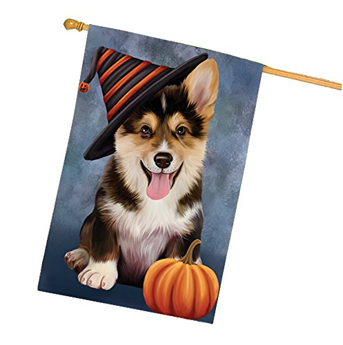 Happy Halloween Corgi Dog Wearing Witch Hat with Pumpkin House Flag -