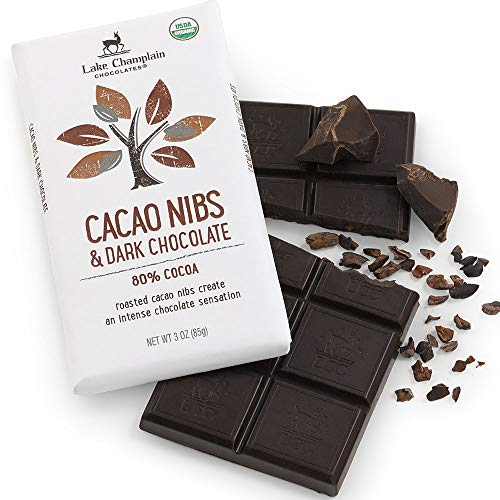 Lake Champlian Organic Cacao Nibs & Dark Chocolate Bar, 3 Ounces