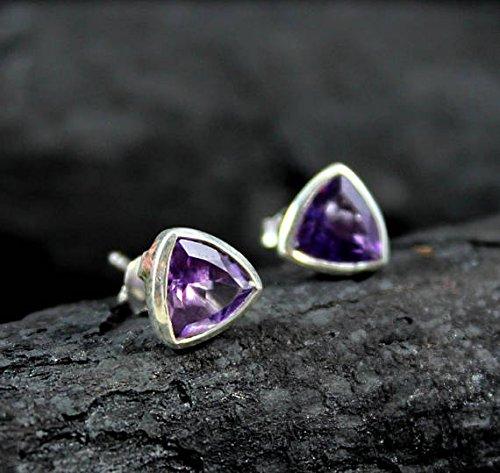 Amethyst Earring, Natural Gemstone Earring, Birthstone Jewelry, Amethyst Stud Earrings, Purple Gemstone ()