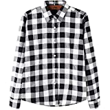 DOKKIA Women's Casual Blouses Long Sleeve Buffalo Plaid Checkered Flannel Shirts (Medium, Black White Buffalo)