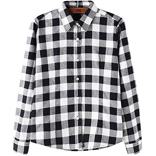 DOKKIA Women's Casual Blouses Long Sleeve Buffalo Plaid Checkered Flannel Shirts (X-Large, Black White Buffalo)