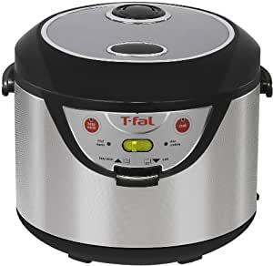 T-fal RK202E Balanced Living 600-Watt 10 Cups/20 Cups Cooked 3-in-1 Rice Cooker, Silver
