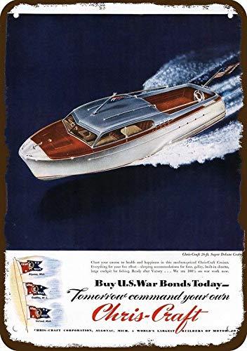 - Yilooom 1944 Chris Craft 26' Super Deluxe Cruiser Wood Boat Vintage Look Metal Sign 7