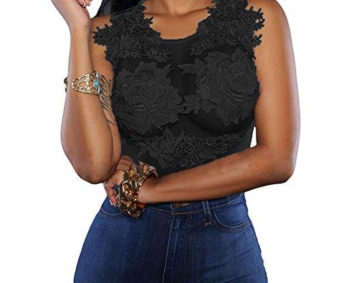 YFFaye Women's Mesh Lace Applique Bodysuit Black L