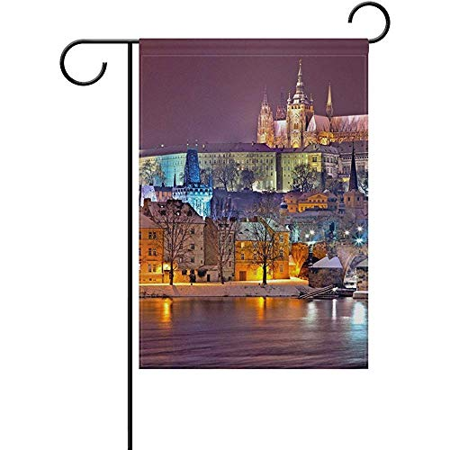Maozond8 Building Prague Architecture Home House Decoration Welcome Flag Double-Sided Banners 12x18 inch for Patio Lawn Garden Party Wedding Holiday -