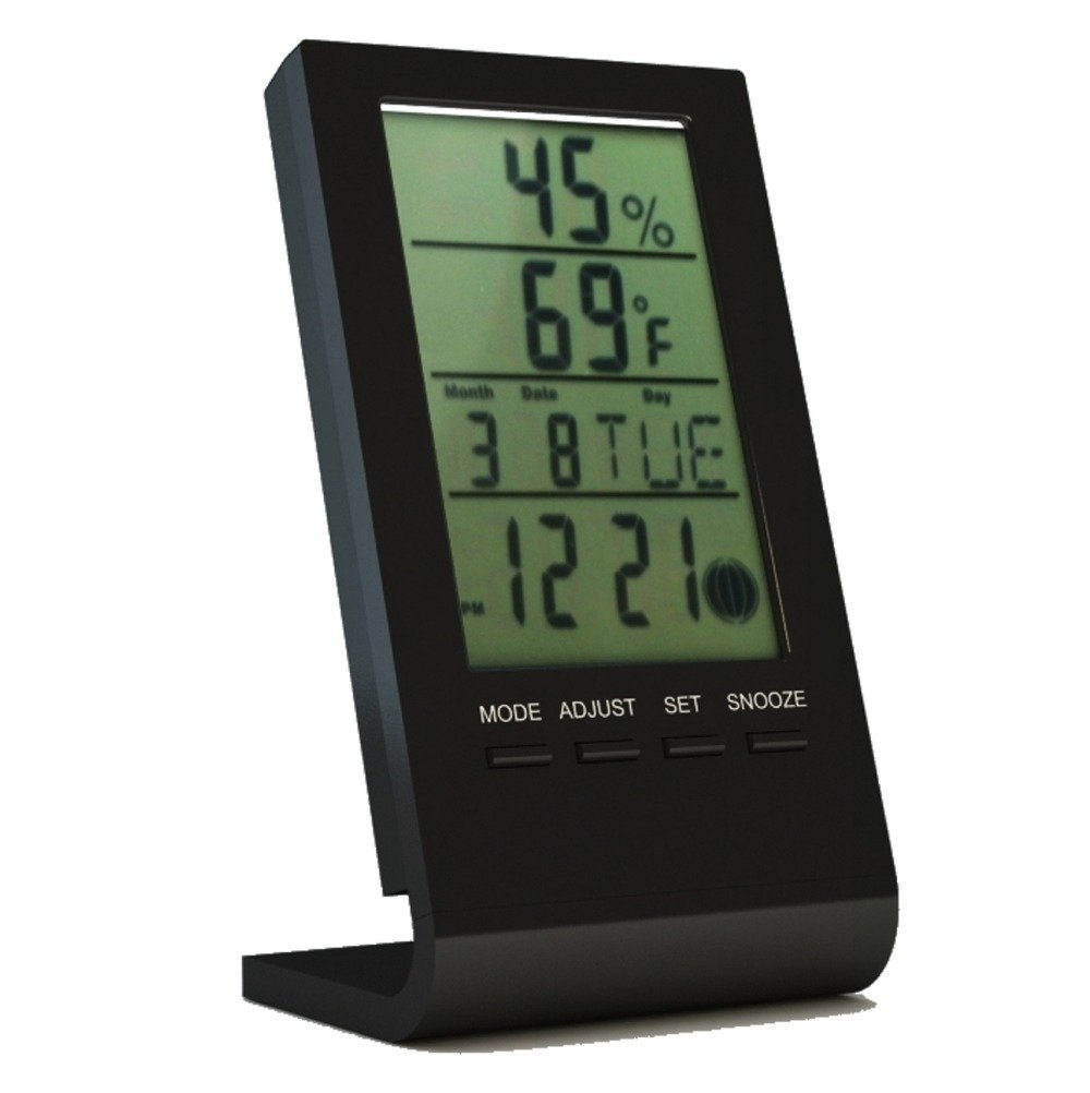 Kasstino Digital LCD Indoor Electronics Thermometer Hygrometer Temperature Humidity Meter (Black) KS0297B