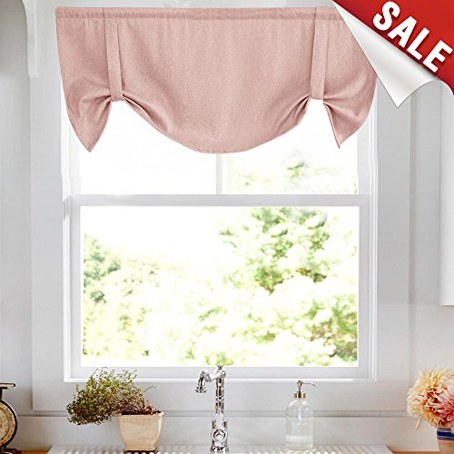 Tie up Valances for Windows Linen Textured Room Darkening Adjustable Tie Up Shade Window Curtain Rod Pocket Tie up Valance Curtains 18 Inches Long 1 Panel Pink ()