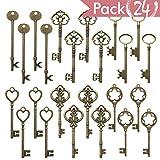 24pcs Mixed Vintage Skeleton Keys, 6 Styles,Each 4pcs, Bronze, Extra Large