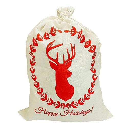 (Large Capacity Drawstring Christmas Bag Santa Sack Christmas Eve Gift Bag Xmas Stocking Present Bag 20 x 27.5inch Elk Style)