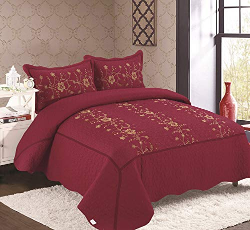 Golden Linens Over Size 3 pieces Solid Color Embroidery Floral Design Quilt Bedspread Coverlet Set With Two Pillow Shams (Queen, Burgundy) (Red Queen Bedspread)