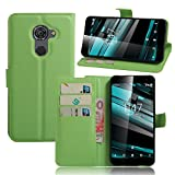 Smart Platinum 7 Case,Khytech[green][Kickstand Feature][Card Slot][Magnetic Closure]Premium PU Leather Wallet Case Stand Cover Flip Fold Case for Vodafone Smart Platinum 7