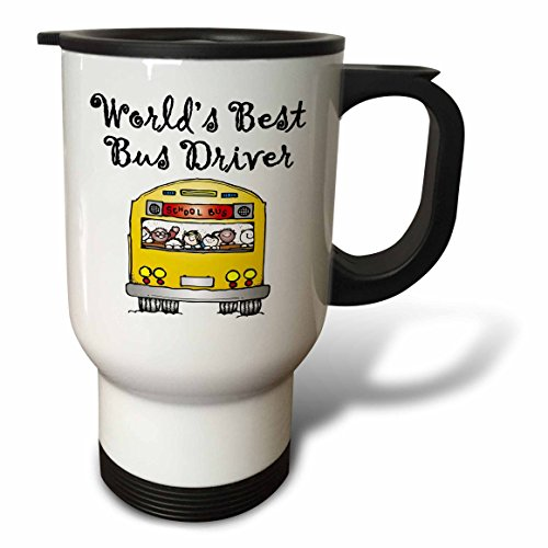 Worlds Bus Driver Best (3dRose tm_193351_1 Worlds Best Bus Driver Travel Mug, 14-Ounce, Stainless Steel)
