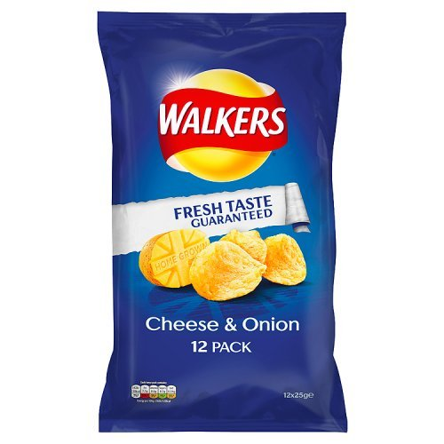 WALKERS CHEESE & ONION PACK OF 20 X 25g