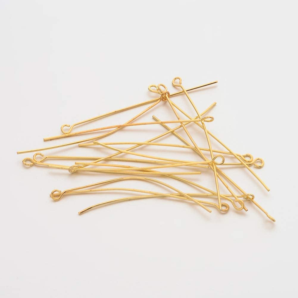 30mm LiQunSweet 300 Pcs Brass Ball Head Pins Wire Real 18K Gold Plated Metal Ball Headpins for Jewelry Earring Bracelet Necklace Making DIY Findings Accessories Supplies