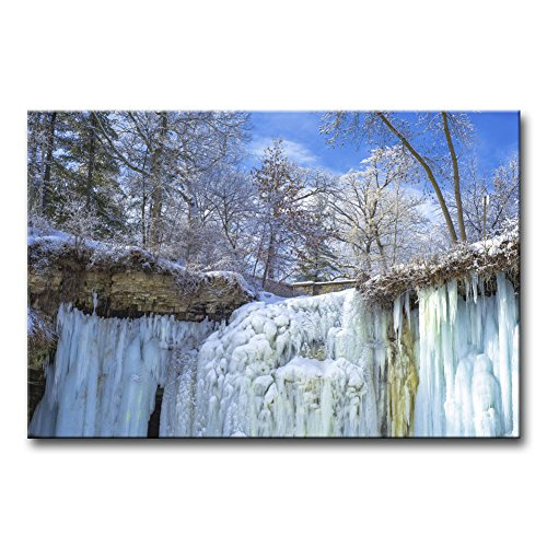 Wall Art Decor Poster Painting On Canvas Print Pictures Upper Frozen Minnehaha Falls in Winter Minneapolis Minnesota Landscape Snow Framed Picture for Home Decoration Living Room Artwork