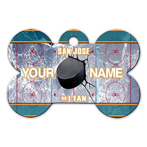 BleuReign(TM) Personalized Custom Name Hockey Team San Jose License Plate Bone Shaped Metal Pet ID Tag with Contact Information