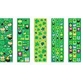 """Shamrockin' St. Patrick's Day Party Paper Stickers , Green, Paper , 10 1/4"""" x 3"""", Pack of 5"""