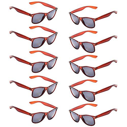 Oaonnea 10 Packs Neon Colors Party Favors 80's Retro Unisex Sunglasses,UV Protection (Brown)