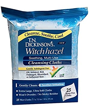 T.N. Dickinson's Witch Hazel New Soothing Multi-Use Cleansing Cloth, 25 Count