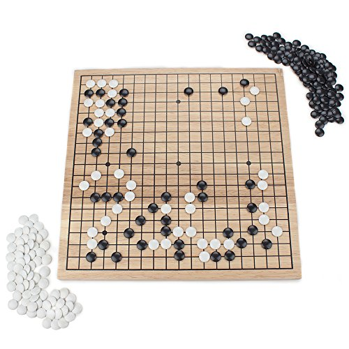 """Go Set with Natural Wood Board   Portable 29 x 29cm (11.4"""" x 11.4"""") Set   Complete Set of 361 Stones   19x19 Grid Layout, Portable Size for Travel   2-Player - Classic Chinese Strategy Board Game"""