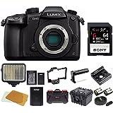 Panasonic GH5 Lumix 4K Mirrorless, Wi-Fi + BT,3.2 LCD 64GB Video Bundle (SmallRig Cage, LED Light, Hard Case)