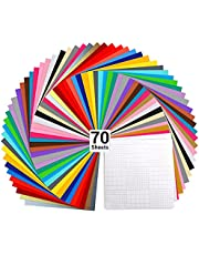 """Vinyl Sheets, Ohuhu 70 Permanent Adhesive Backed Vinyl Sheets Set, 60 Vinyl Sheets 12"""" x 12"""" + 10 Transfer Tape Sheets, 30 Assorted Color Sheets for Cricut, Silhouette Cameo, and Other Craft Cutters Craft Supplies"""