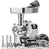 STX International Magnum 1800W Electric Meat Grinder (Patented Air Cooled) - 3 Stainless Blades, 5 Grinding Plates, 1 Beaner Sausage Stuffing Plate, Kubbe Attachment and 3 Sizes of Sausage Tubes