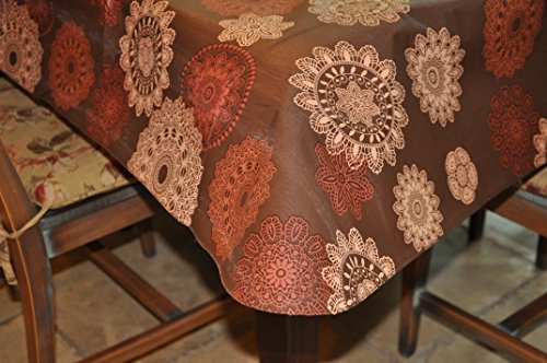 Covers For The Home Deluxe Stitched Edged Flannel Backed Vinyl Drop Tablecloth - Medallion Pattern - 60