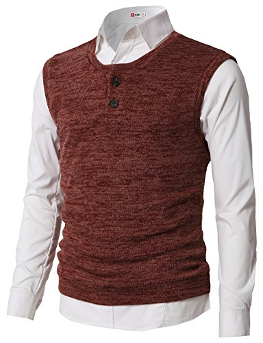 (H2H Mens Basic Two Button Closure Pull Over Knit Vest Brick US L/Asia XL (CMOV043))