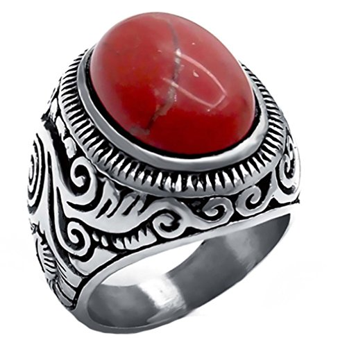 tique Natural Oval Turquoises Black Onyx Stainless Steel Ring Silver Tone Ring (Red Jasper, 14) (Black Jasper Ring)