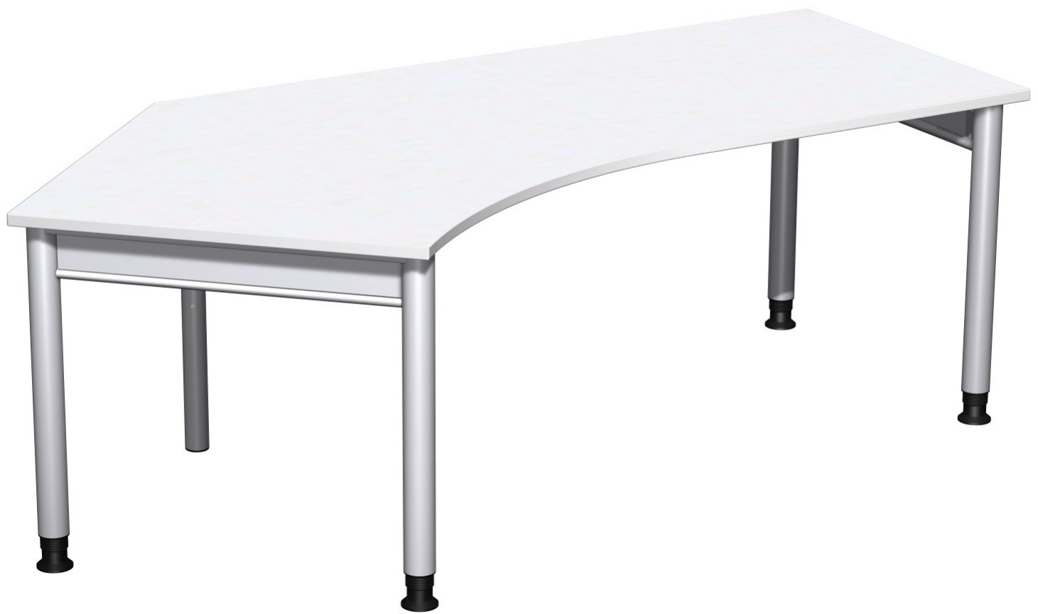 Geramöbel Schreibtisch 135° links höhenverstellbar, 2166x1130x680-820, Weiß/Silber