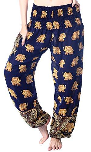 Boho Vib Women's Rayon Print Smocked Waist Boho Harem Yoga Pants (Small/Medium, Elephant G Dark Blue)