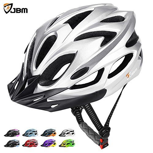 JBM Adult Cycling Bike Helmet Specialized for Mens Womens Safety Protection Red / Blue / Yellow (Silver, (Silver Bmx Bike)
