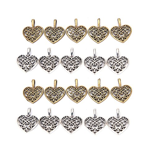 DINGJIN 100 Pcs Charm Pendant Heart Shape Tibetan Metal Beads for Jewelry Making and Crafting (Silver,Bronze)